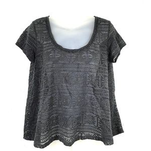 American Eagle charcoal grey gray lace top blouse